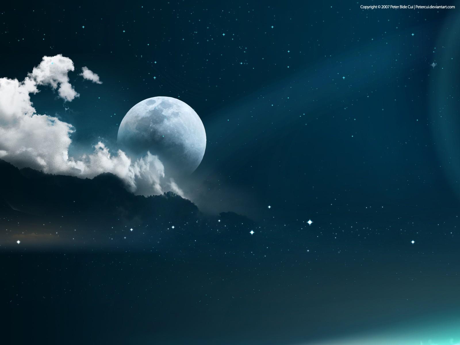 Звёздное небо луна description обои фото
